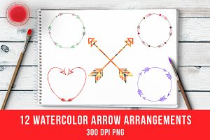 12 Watercolor Arrow Arrangements
