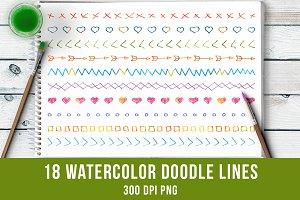 18 Watercolor Doodle Lines #2