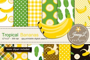 Banana Digital Papers & Clipart