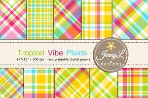 Tropical Plaid Digital Papers