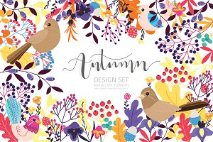 Fall / Autumn flower design set