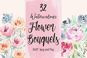 32 Watercolour Flower Bouquets