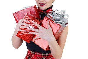 Pin-up girl with gifts
