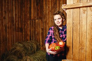 Teen girl on farm