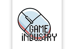 Color vintage game industry emblem