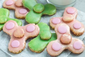 Homemade shortbread cookies made in trendy spinner toy form , horizontal