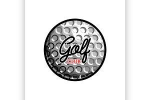 Color vintage golf club emblem