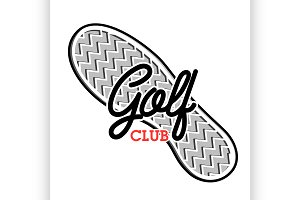 Color vintage golf club emblem