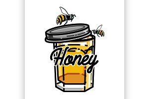 Color vintage honey emblem
