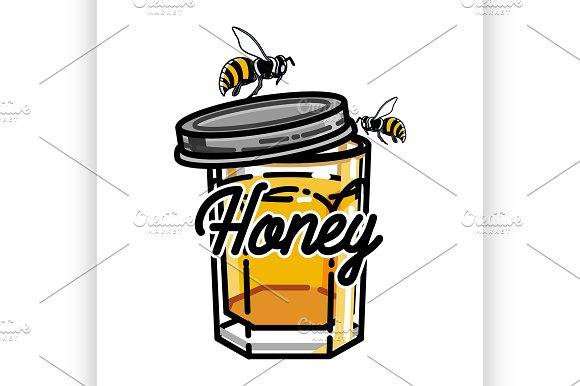 Color Vintage Honey Emblem Illustrations Creative Market