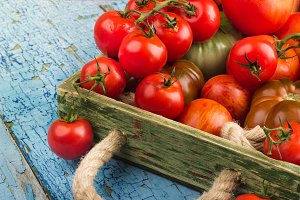 Different tomatoes in the tray on the wooden background