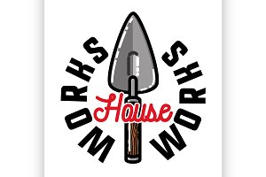 Color vintage house works emblem