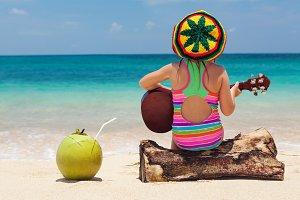 Funny girl on the beach