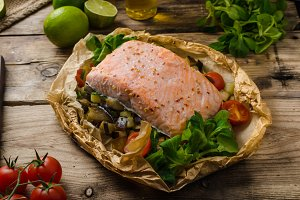 Salmon baked in papillote