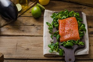 Fresh salmon with salad