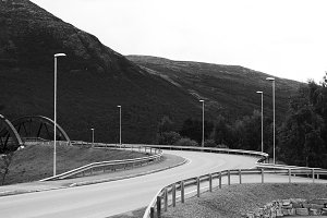 Norwegian transport city road with lamps background