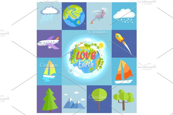 Love Earth Poster Made Of Square Illustrations