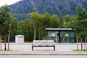 Norway city bus stop transport background
