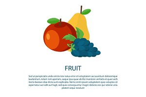 Fruit Poster with Ripe Apple Yellow Pear and Grape