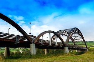 Norway city wooden bridge background