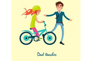 Family Bike Ride with Dad and Daughter on Bicycle