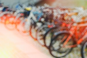 Oslo bicycle bokeh with light leak background