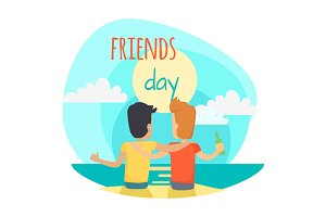 Friends Day Illustration. Two Friends Sit on Beach