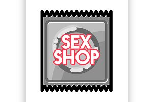 Color vintage sex shop emblem.