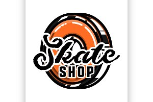 Color vintage skate shop emblem