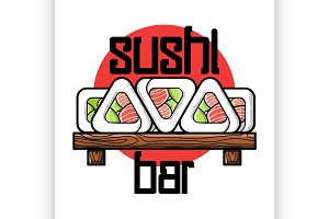 Color vintage sushi bar emblem