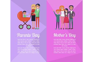 Set of Banners Devoted to Parents', Mother's Days