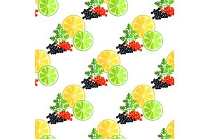 Citrus Fruits, Green Parsley and Caviar Pattern
