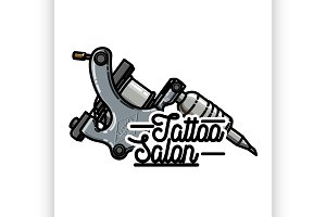 Color vintage tattoo shop emblem