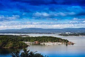 Norway islands in ocean landscape background