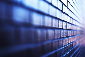 Blueish diagonal brick wall background