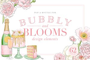 Bubbly and Blooms Design Elements