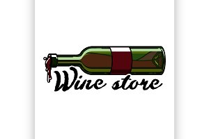 Color vintage wine store emblem