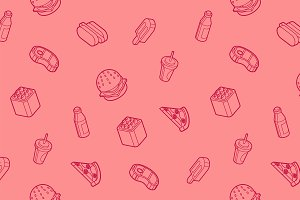 Fast food outline isometric pattern