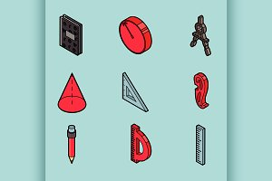 Geometry isometric icons
