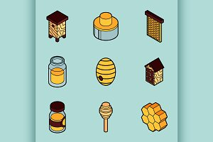 Honey flat outline isometric icons