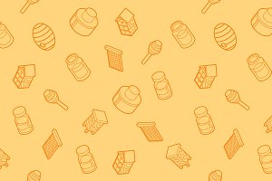 Honey flat outline isometric pattern