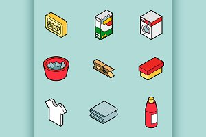 Laundry flat outline isometric icons