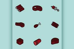 Meat color outline isometric icons