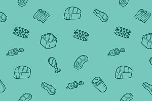 Meat color outline isometric pattern