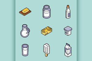 Milk flat outline isometric icons