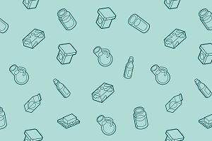 Milk flat outline isometric pattern