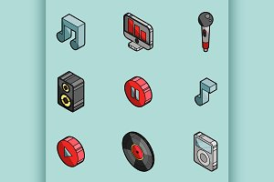Music color outline isometric icons
