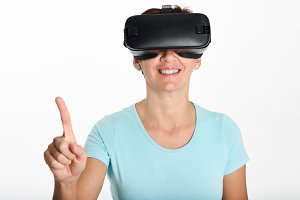 Woman looking in VR glasses