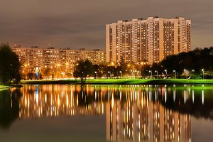 Altufievo district in Moscow night reflections background