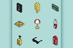 Tourism color icons
